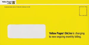 yellow pages wallet envelope